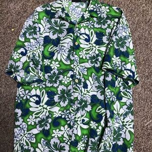 Vintage 90s odo green button up floral promo